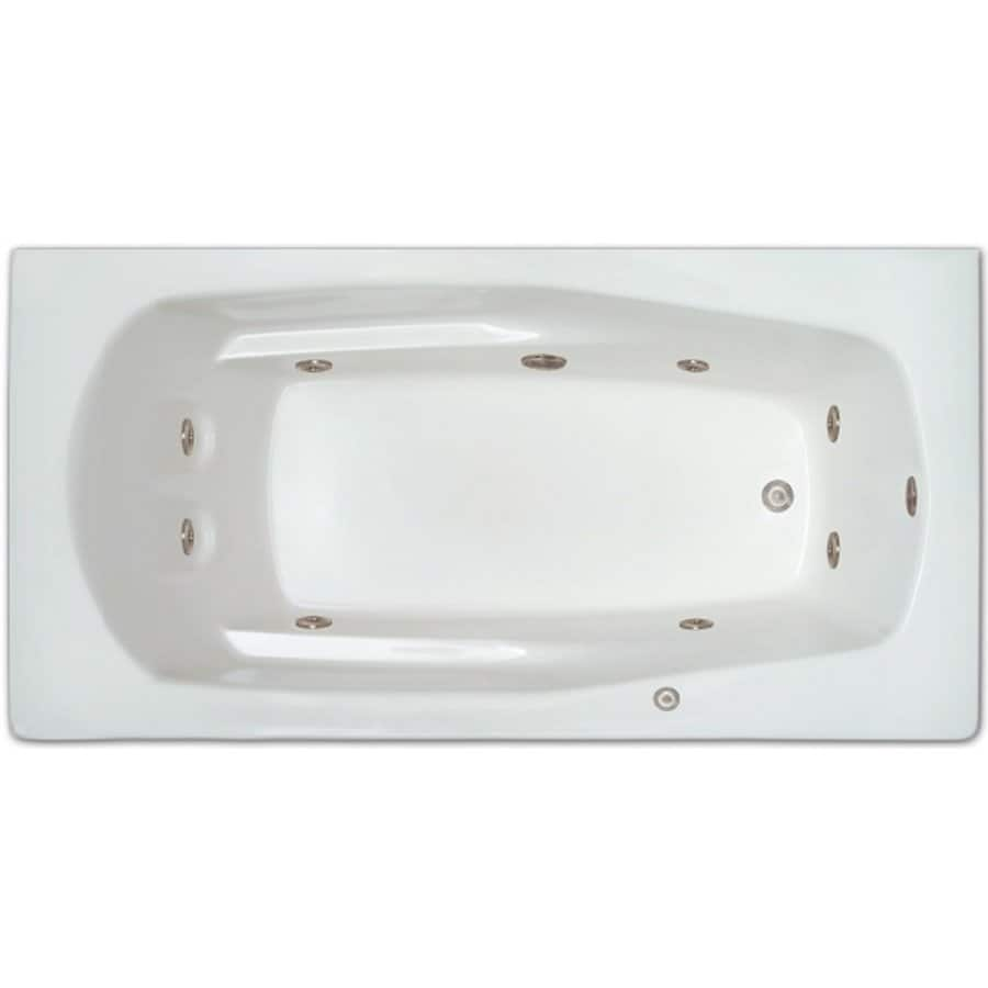Home and Garden Home 66-in White Acrylic Drop-In Whirlpool Tub with Right-Hand Drain