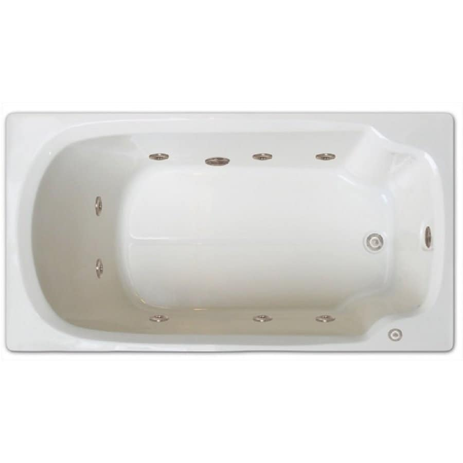 Home and Garden Home 60-in White Acrylic Drop-In Whirlpool Tub with Right-Hand Drain