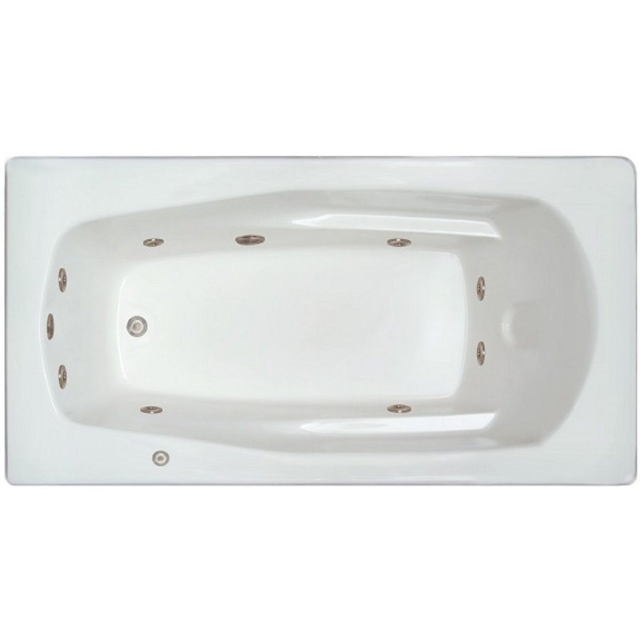Home and Garden Home 71-in White Acrylic Drop-In Whirlpool Tub with Left-Hand Drain