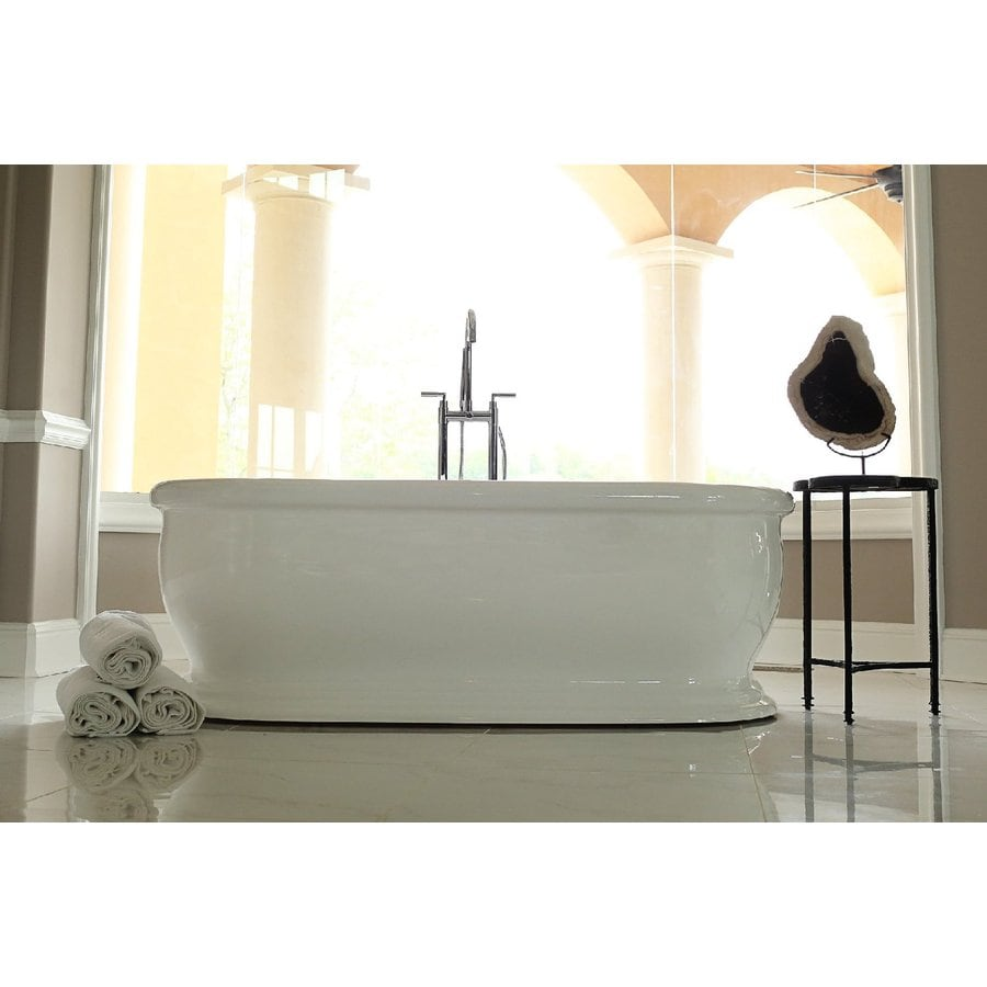 Home And Garden Freestyle 69 In White Acrylic Oval Center Drain  Freestanding Bathtub