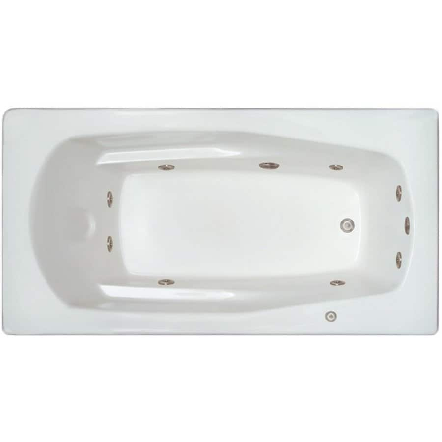Home and Garden Home 71-in White Acrylic Drop-In Whirlpool Tub with Right-Hand Drain