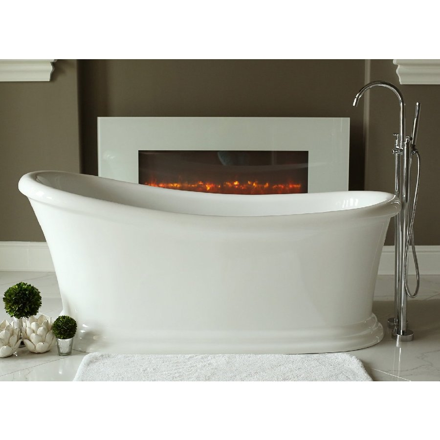 Home and Garden Freestyle 67.5-in White Acrylic Freestanding Bathtub with Reversible Drain