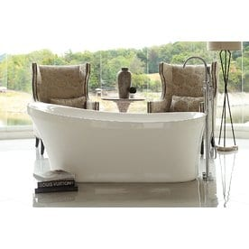 Home And Garden Freestyle 67 In White Acrylic Freestanding Bathtub With  Reversible Drain