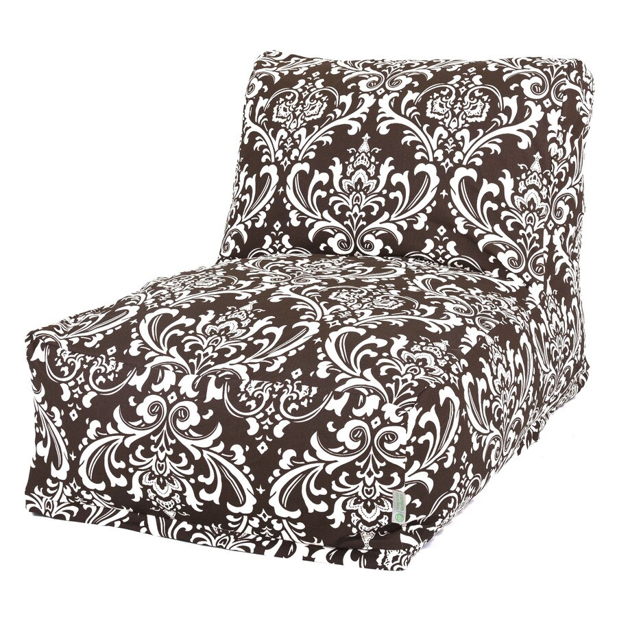 Majestic Home Goods Chocolate and White French Quarter Bean Bag Chair