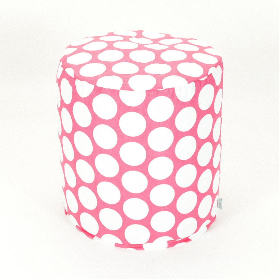 Majestic Home Goods Hot Pink Large Polka Dot Ottoman