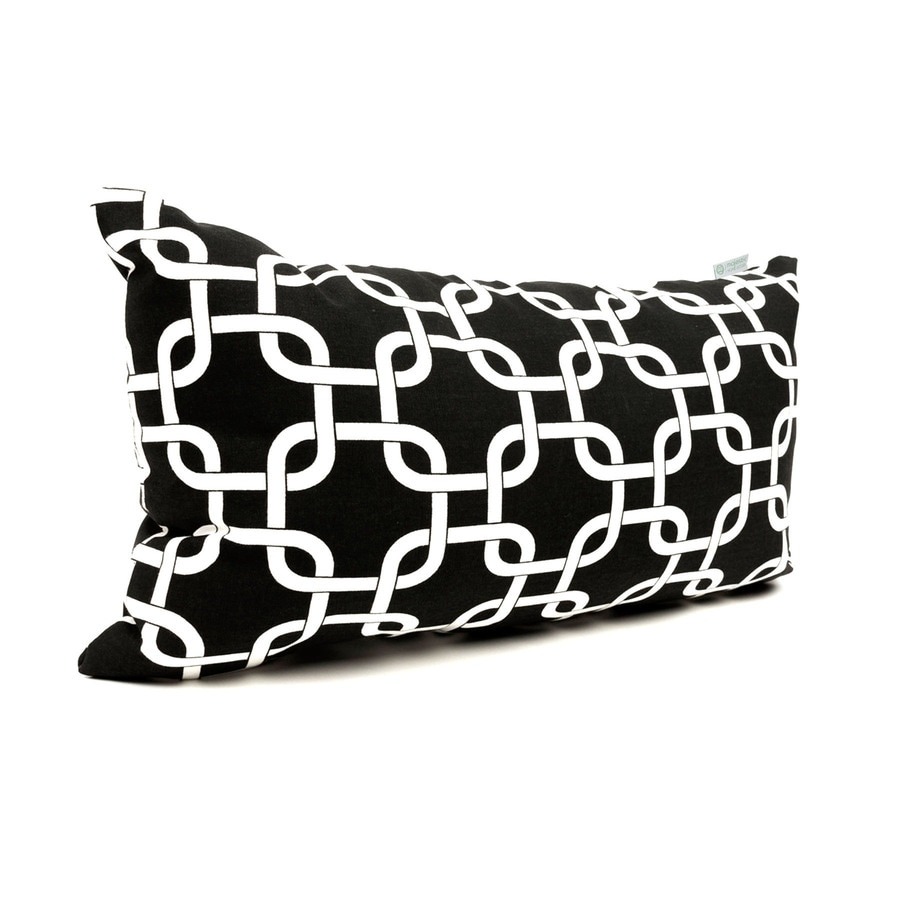 Majestic Home Goods 12-in W x 20-in L Black Rectangular Indoor Decorative Complete Pillow