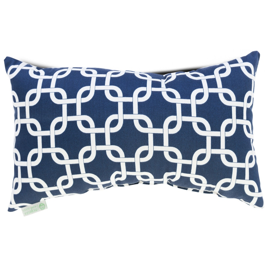 Majestic Home Goods 12-in W x 20-in L Navy Blue Indoor Decorative Pillow