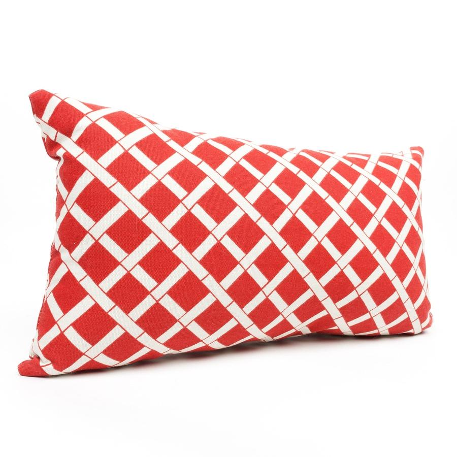 Majestic Home Goods Red Bamboo and Geometric Rectangular Lumbar Pillow Outdoor Decorative Pillow