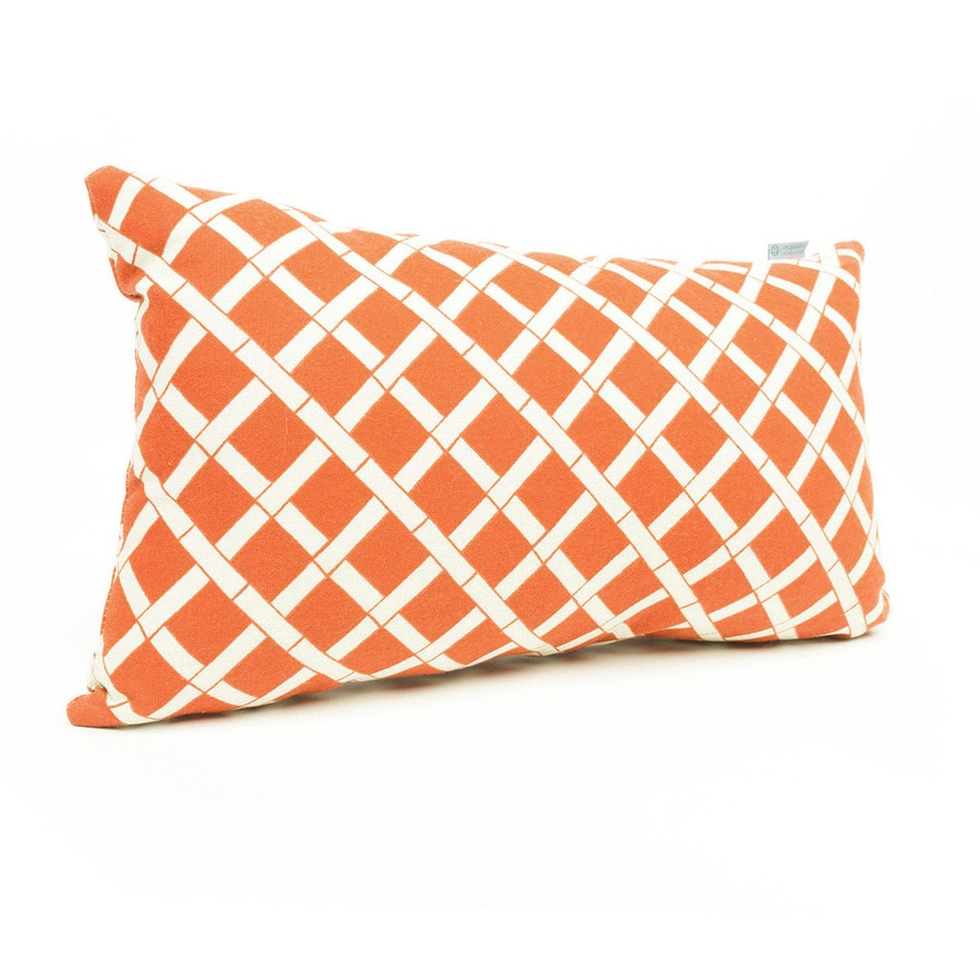 Majestic Home Goods Burnt Orange Bamboo and Geometric Rectangular Lumbar Pillow Outdoor Decorative Pillow