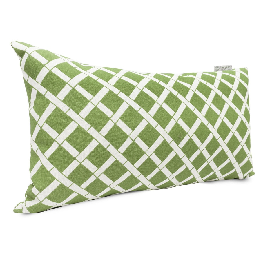 Majestic Home Goods Sage Bamboo and Geometric Rectangular Lumbar Pillow Outdoor Decorative Pillow