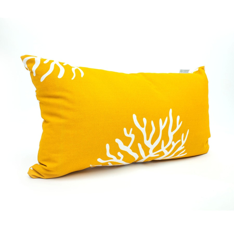 Majestic Home Goods Yellow Coral and Tropical Rectangular Lumbar Pillow Outdoor Decorative Pillow