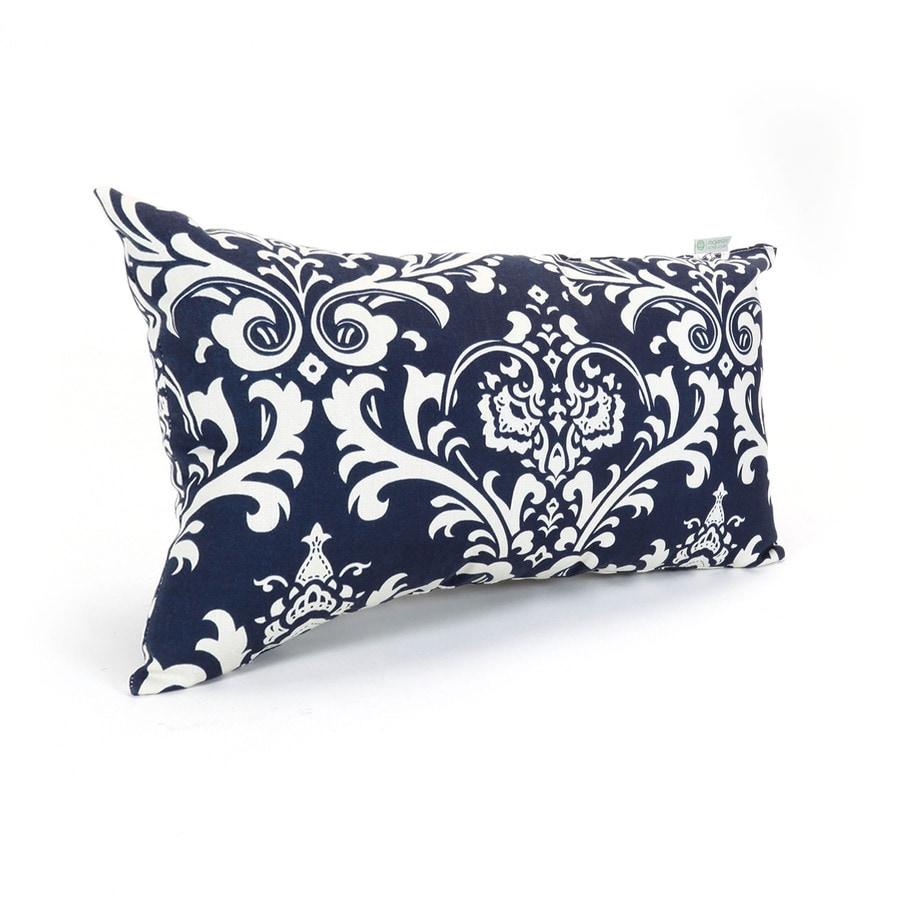Majestic Home Goods French Quarter Navy and Floral Rectangular Lumbar Pillow Outdoor Decorative Pillow