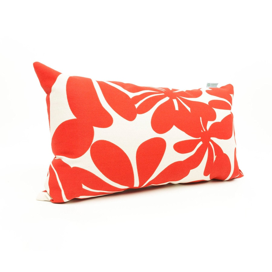 Shop Majestic Home Goods Floral Red Rectangular Lumbar Pillow at Lowes.com
