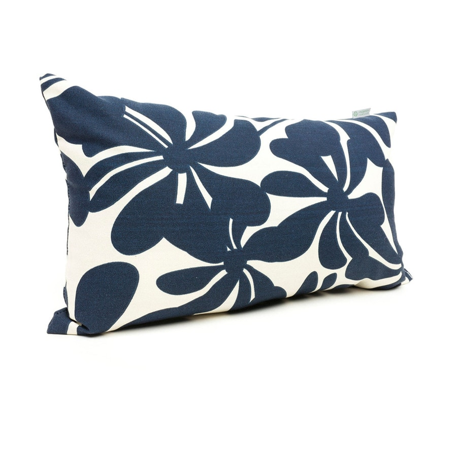 Shop Majestic Home Goods Navy Blue Plantation and Floral Rectangular Lumbar Pillow Outdoor ...