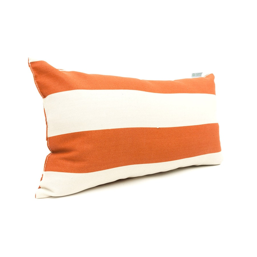 Shop Majestic Home Goods Burnt Orange Horizontal Stripe Rectangular Outdoor Decorative Pillow at ...