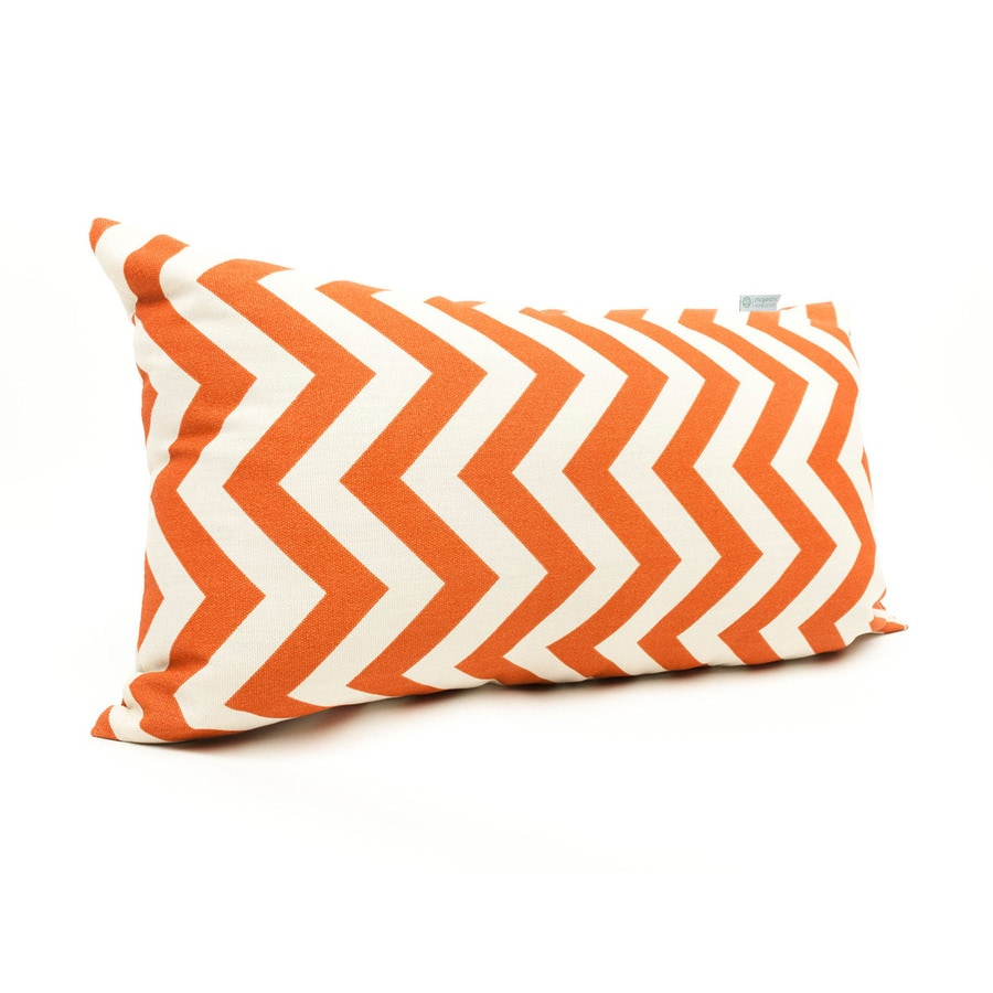 Majestic Home Goods Burnt Orange Chevron Rectangular Outdoor Decorative Pillow