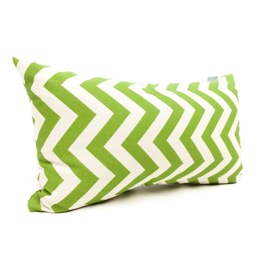 Majestic Home Goods Sage Chevron Rectangular Outdoor Decorative Pillow