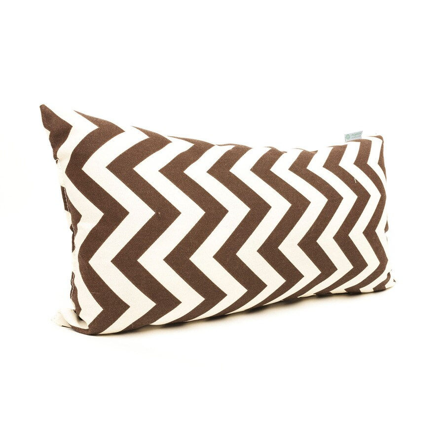 Majestic Home Goods Chocolate Chevron Rectangular Outdoor Decorative Pillow