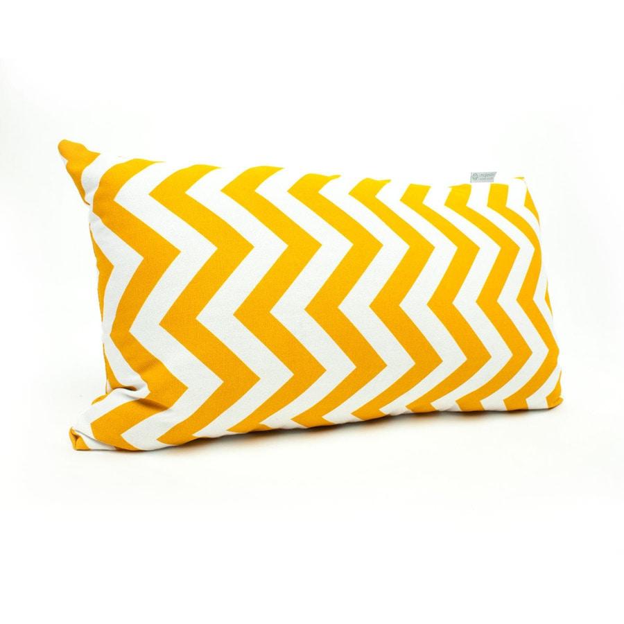 Majestic Home Goods Yellow Chevron Rectangular Outdoor Decorative Pillow