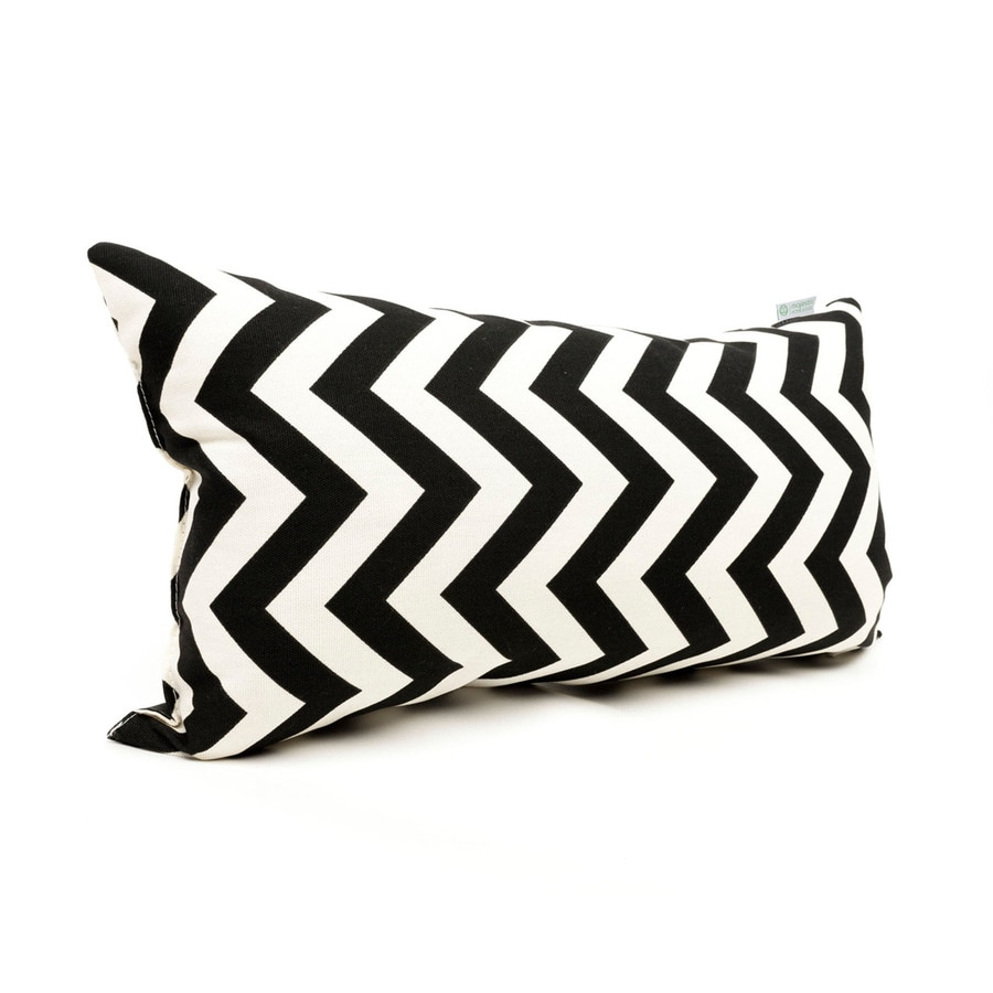 Majestic Home Goods Black Chevron Rectangular Outdoor Decorative Pillow
