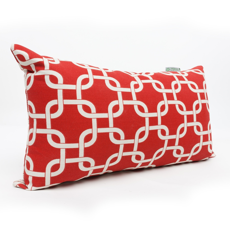 Majestic Home Goods Red Links Geometric Rectangular Outdoor Decorative Pillow