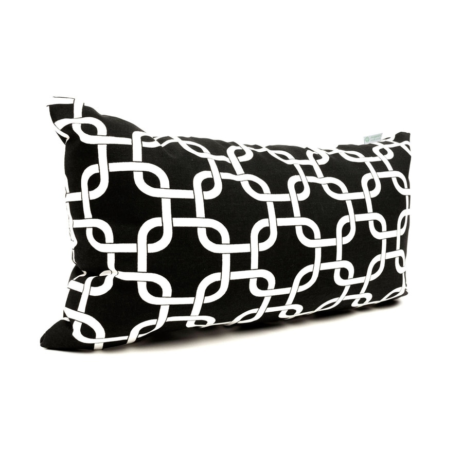 Majestic Home Goods Black Links Geometric Rectangular Outdoor Decorative Pillow