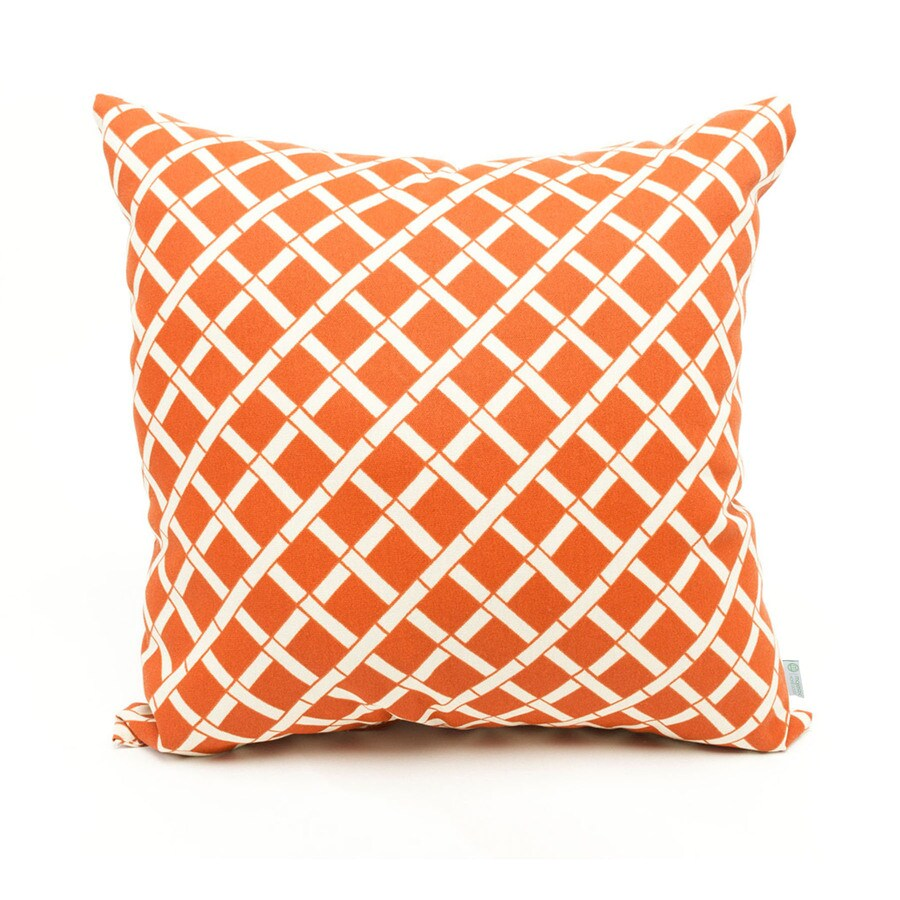Majestic Home Goods Burnt Orange Bamboo Geometric Square Outdoor Decorative Pillow