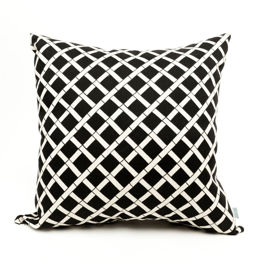 Majestic Home Goods Black Bamboo Geometric Square Outdoor Decorative Pillow