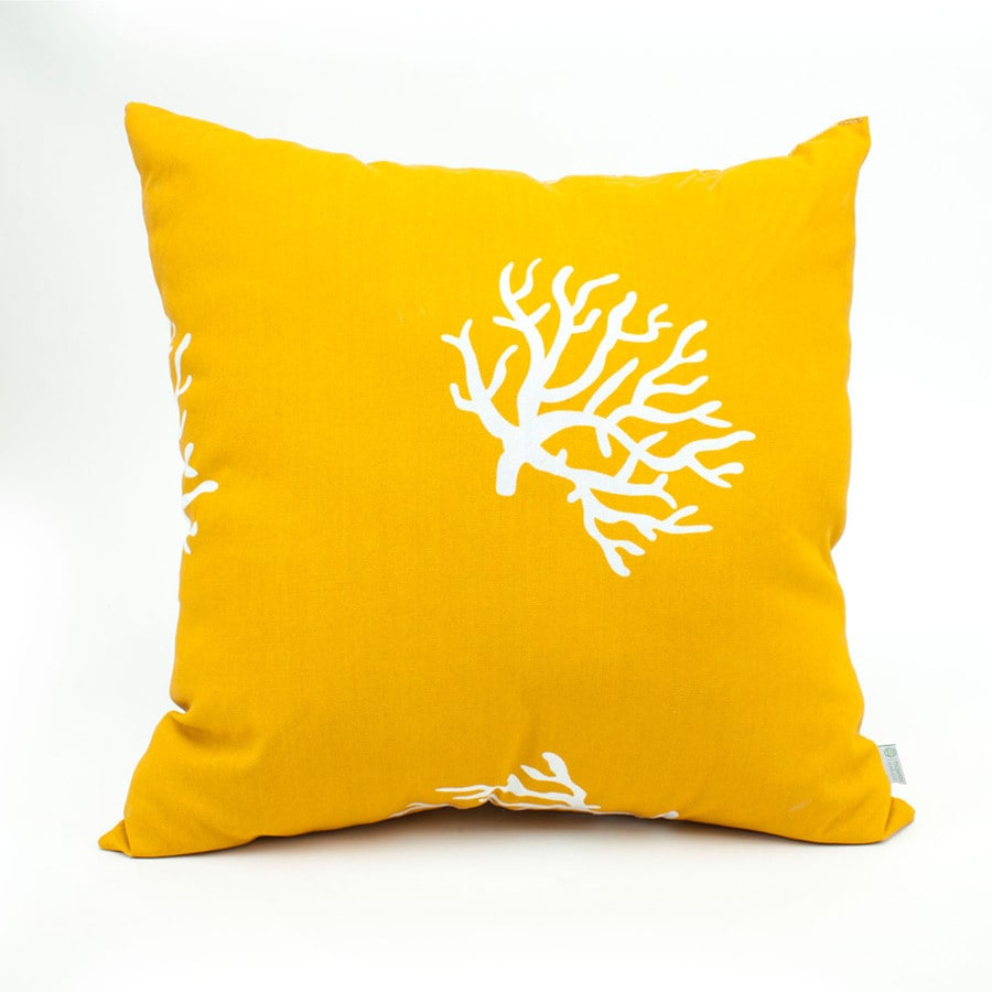 Majestic Home Goods Yellow Coral Tropical Square Outdoor Decorative Pillow