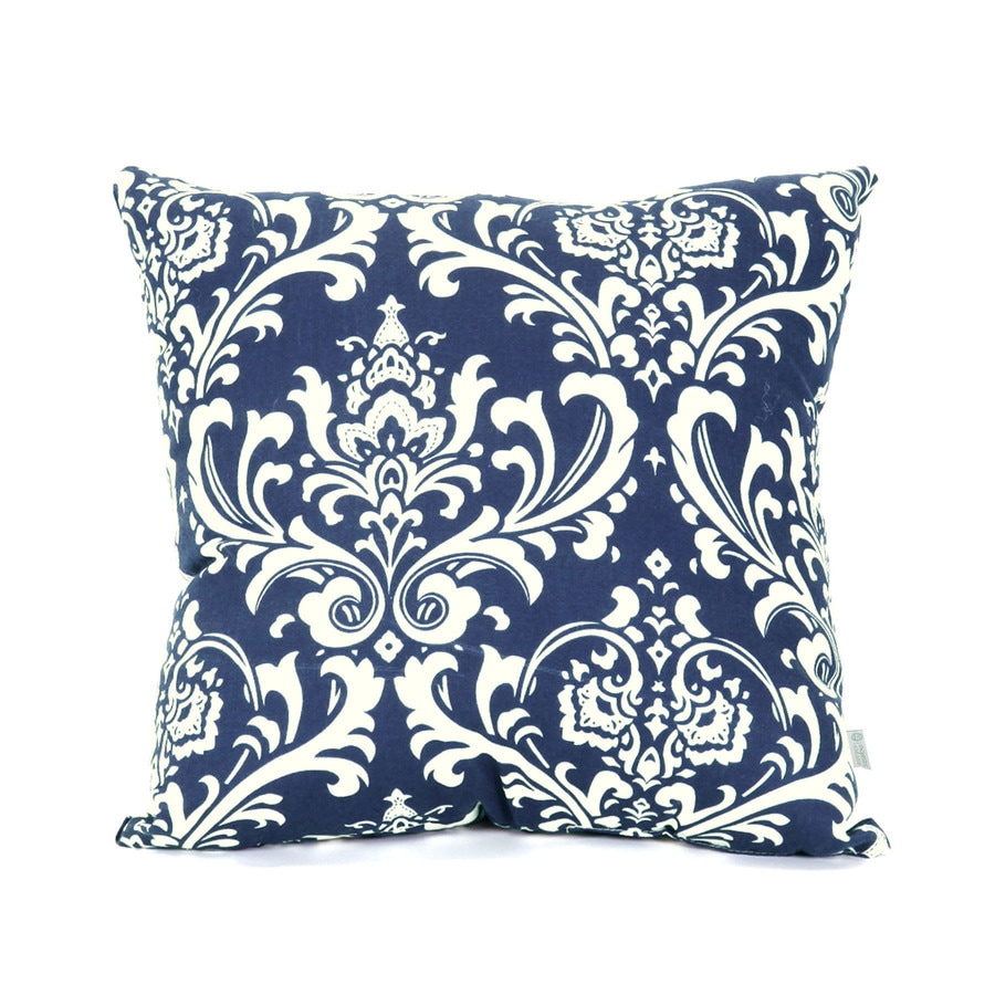 Majestic Home Goods Navy Blue French Quarter Floral Square Outdoor Decorative Pillow