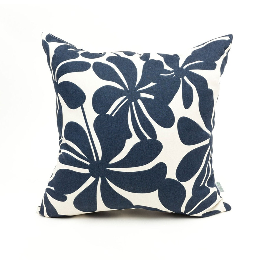 Decorative Pillows Navy : Shop Majestic Home Goods Navy Blue Plantation Floral Square Outdoor Decorative Pillow at Lowes.com