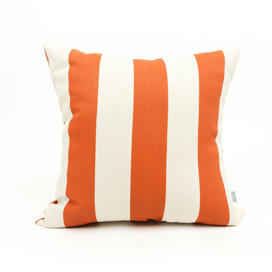 Majestic Home Goods Burnt Orange Vertical Stripe Square Outdoor Decorative Pillow