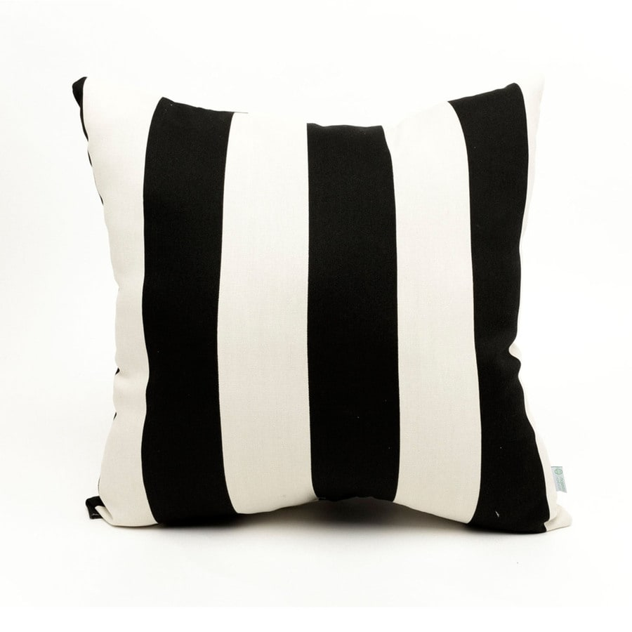 Majestic Home Goods Black Vertical Stripe Square Outdoor Decorative Pillow