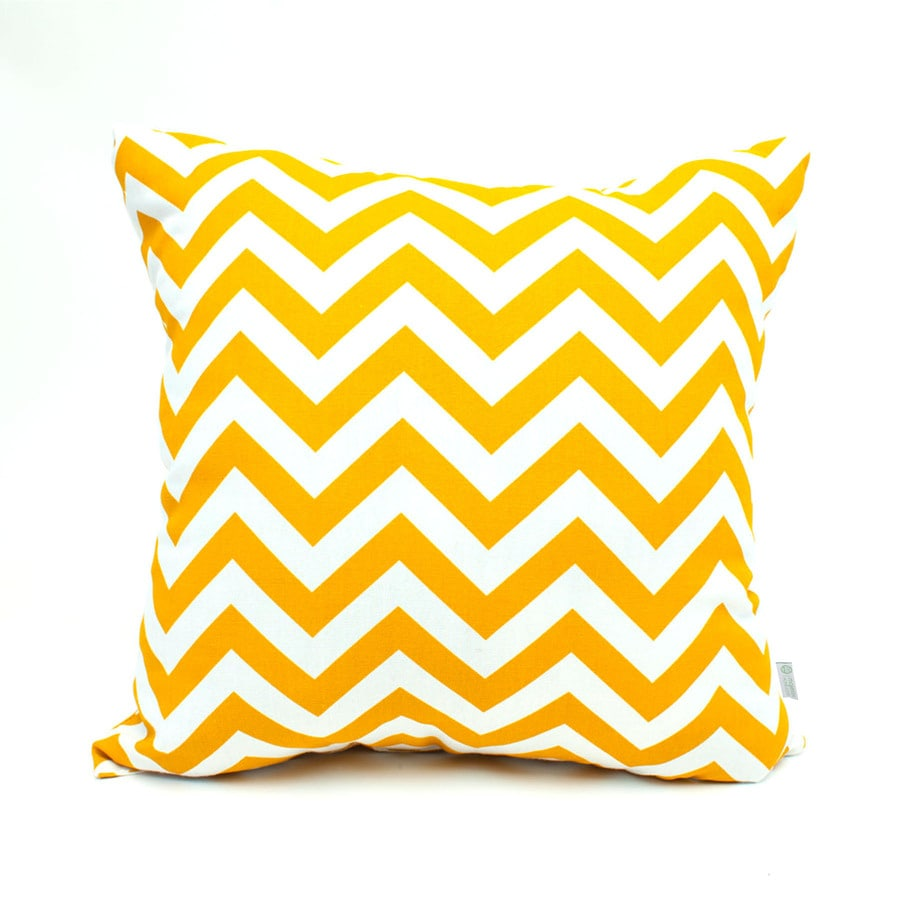 Majestic Home Goods Yellow Chevron Square Outdoor Decorative Pillow
