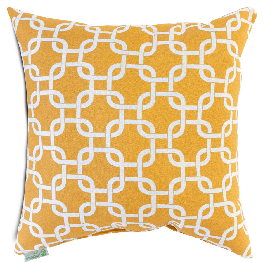 Majestic Home Goods Yellow Links Geometric Square Outdoor Decorative Pillow