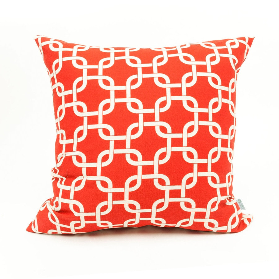 Majestic Home Goods Red Links Geometric Square Outdoor Decorative Pillow