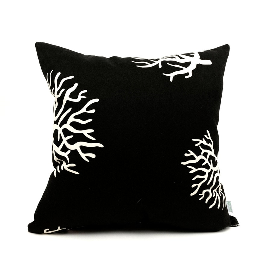 Majestic Home Goods Black Coral Tropical Square Outdoor Decorative Pillow