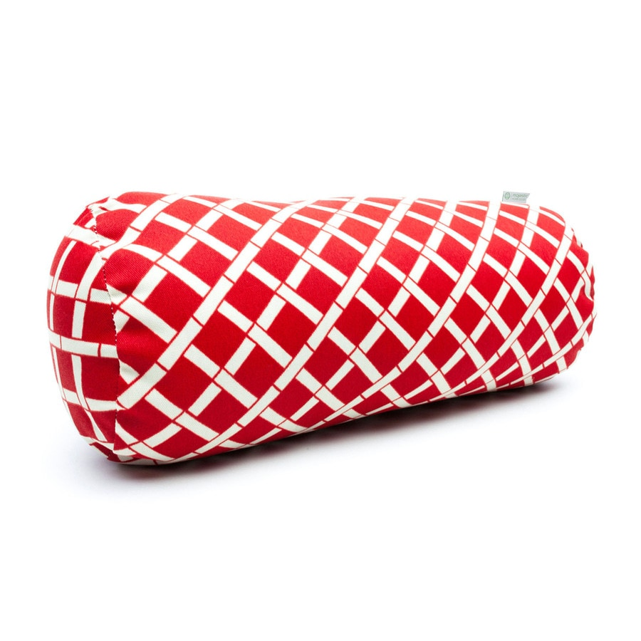 Majestic Home Goods Red Bamboo Geometric Bolster Outdoor Decorative Pillow