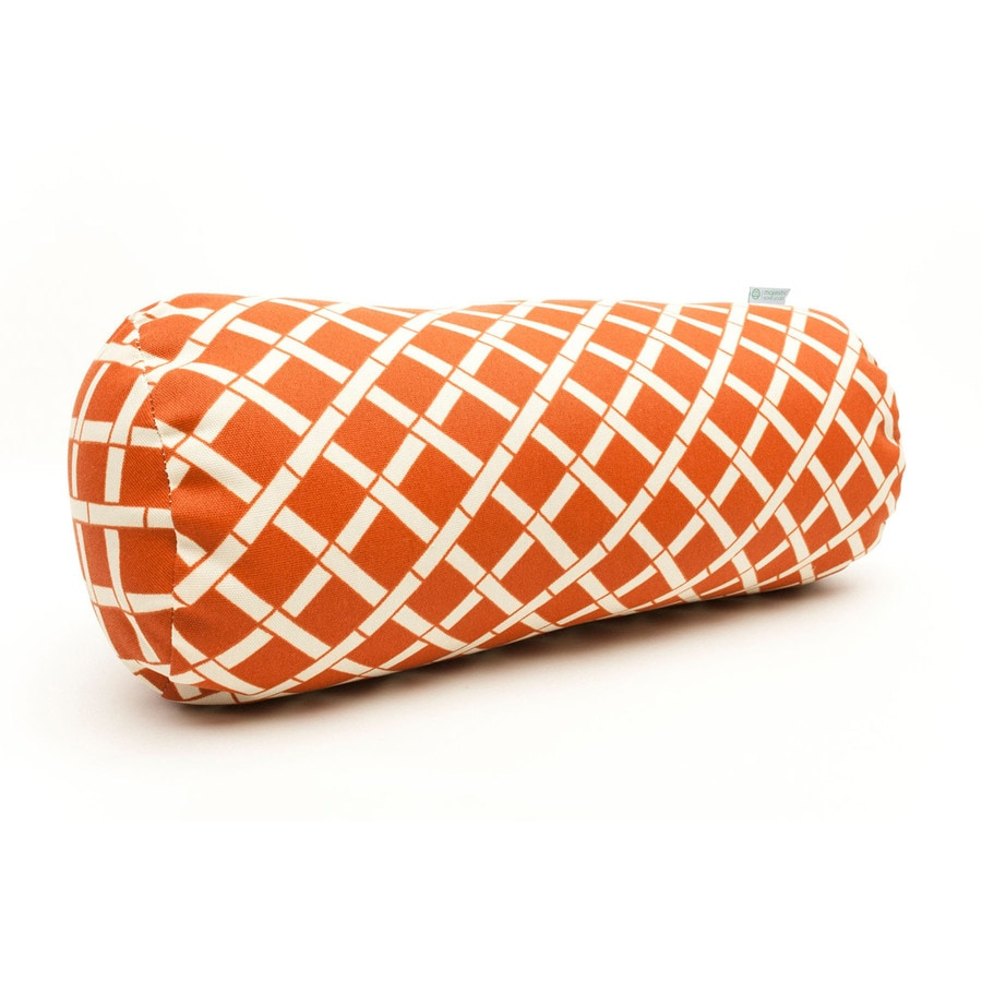 Majestic Home Goods Burnt Orange Bamboo Geometric Bolster Outdoor Decorative Pillow
