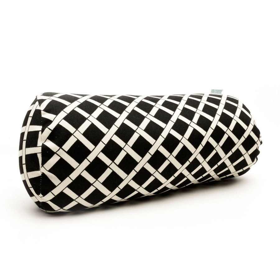 Majestic Home Goods Black Bamboo Geometric Bolster Outdoor Decorative Pillow