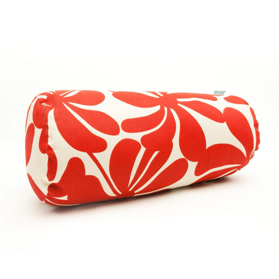 Majestic Home Goods Red Plantation Floral Bolster Outdoor Decorative Pillow