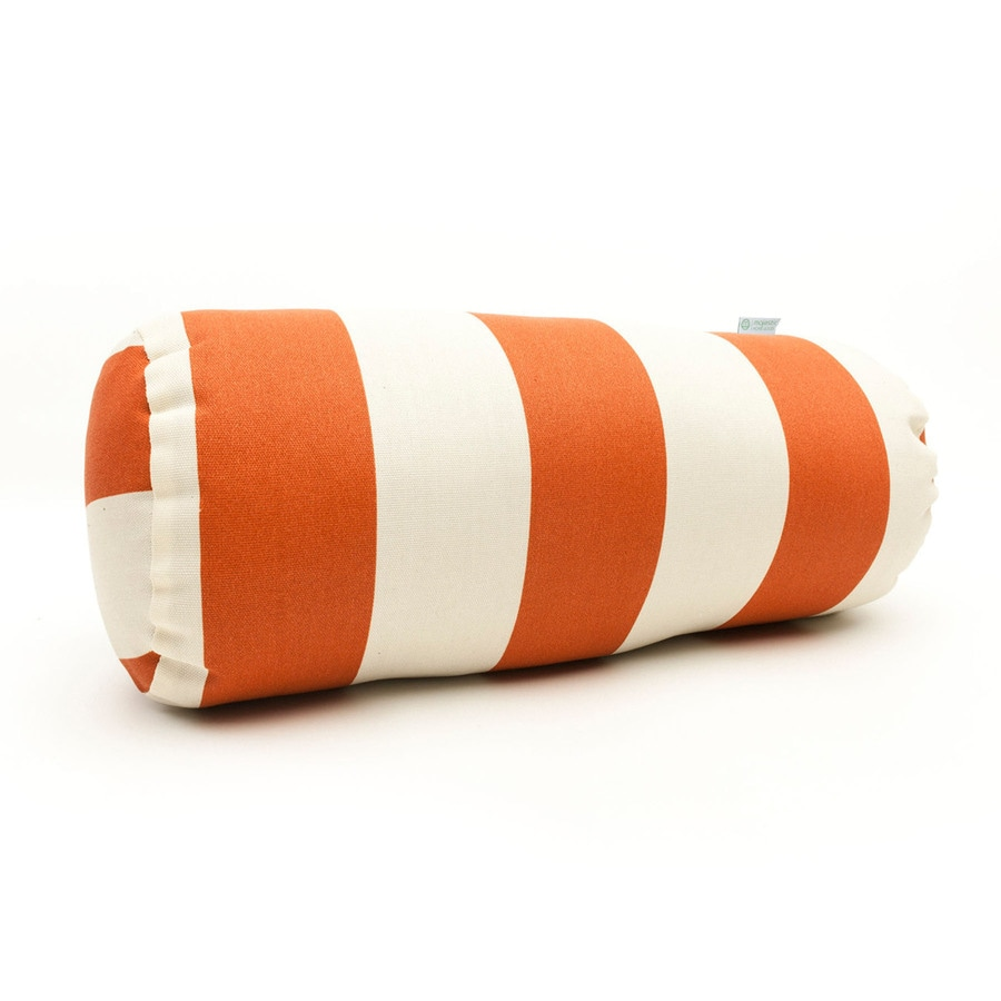 Majestic Home Goods Burnt Orange Vertical Stripe Bolster Outdoor Decorative Pillow