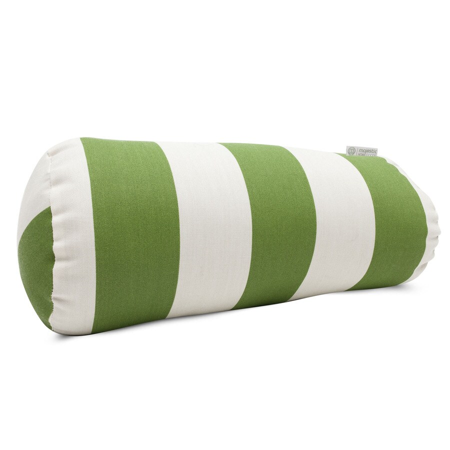 Majestic Home Goods Sage Vertical Stripe Bolster Outdoor Decorative Pillow
