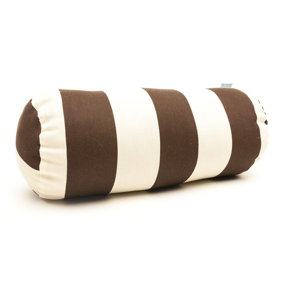 Majestic Home Goods Chocolate Vertical Stripe Bolster Outdoor Decorative Pillow