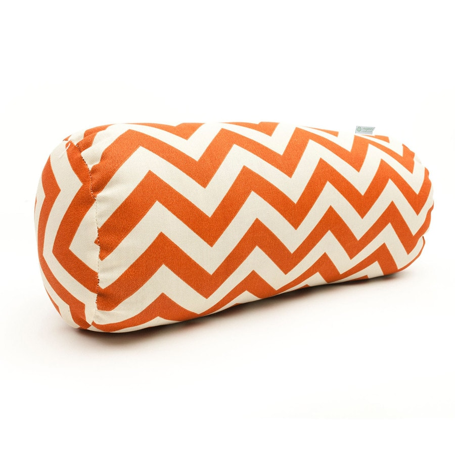 Majestic Home Goods Burnt Orange Chevron Bolster Outdoor Decorative Pillow