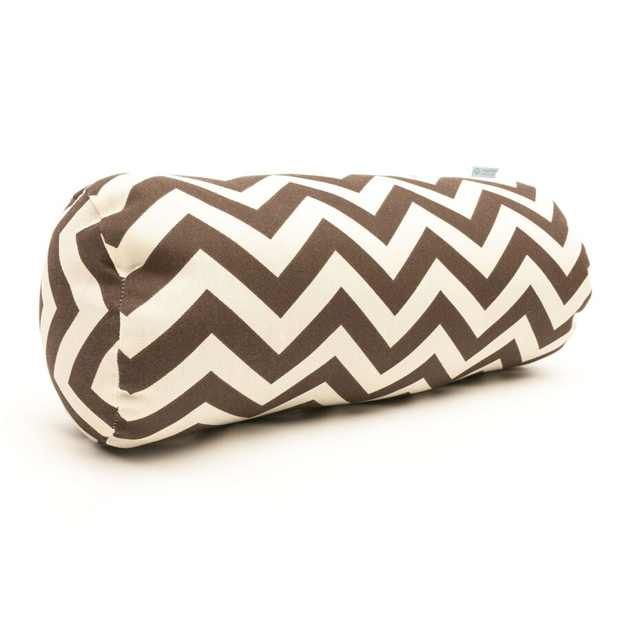 Majestic Home Goods Chocolate Chevron Bolster Outdoor Decorative Pillow