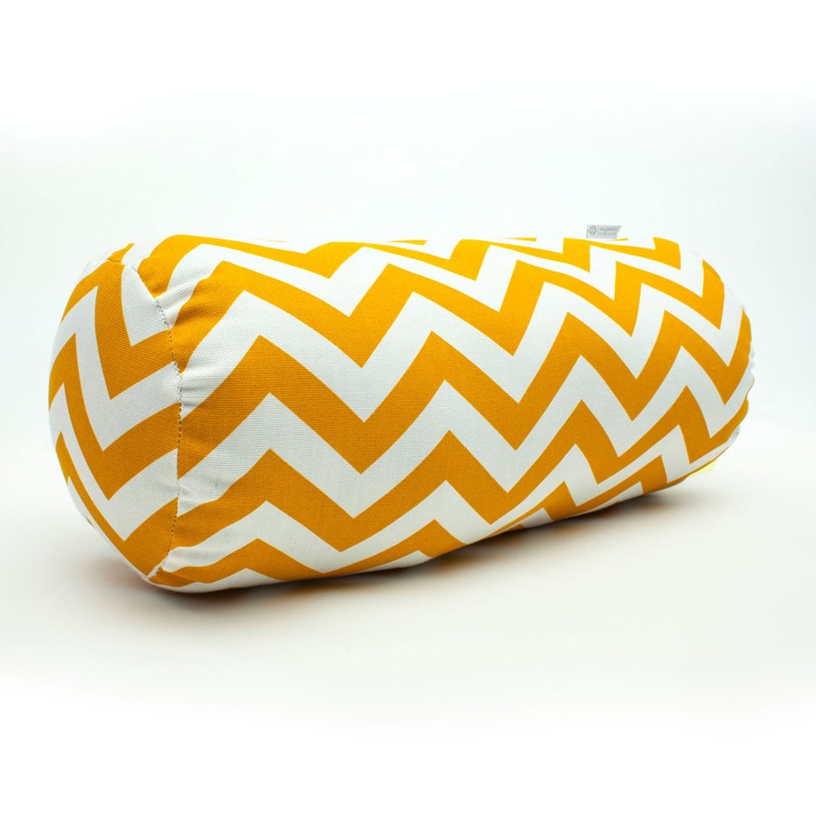 Majestic Home Goods Yellow Chevron Bolster Outdoor Decorative Pillow