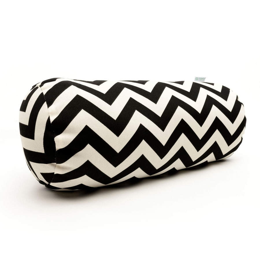 Majestic Home Goods Black Chevron Bolster Outdoor Decorative Pillow
