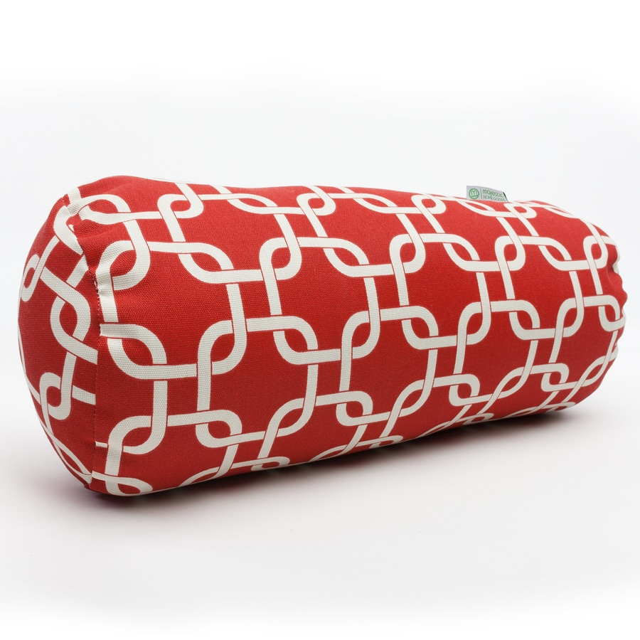 Majestic Home Goods Red Links Geometric Bolster Outdoor Decorative Pillow