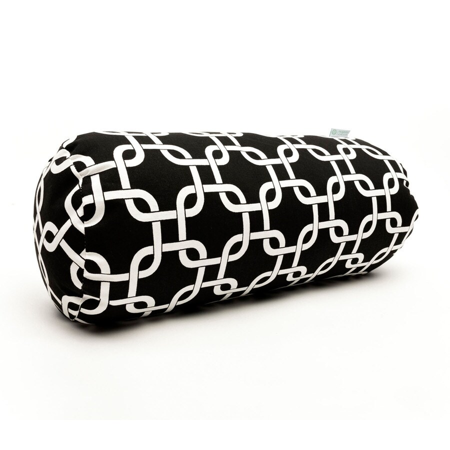 Majestic Home Goods Black Links Geometric Bolster Outdoor Decorative Pillow
